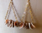 Shell and Chain Earrings with Brown Drop Beads