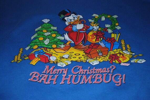 Scrooge McDuck Merry Christmas BAH HUMBUG Sweatshirt L