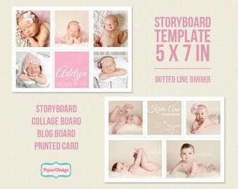 Instant Download 5x7 Storyboard Template, Photo Card Template, Digital Collage and Blog Board for Photographers Blog -  PT029