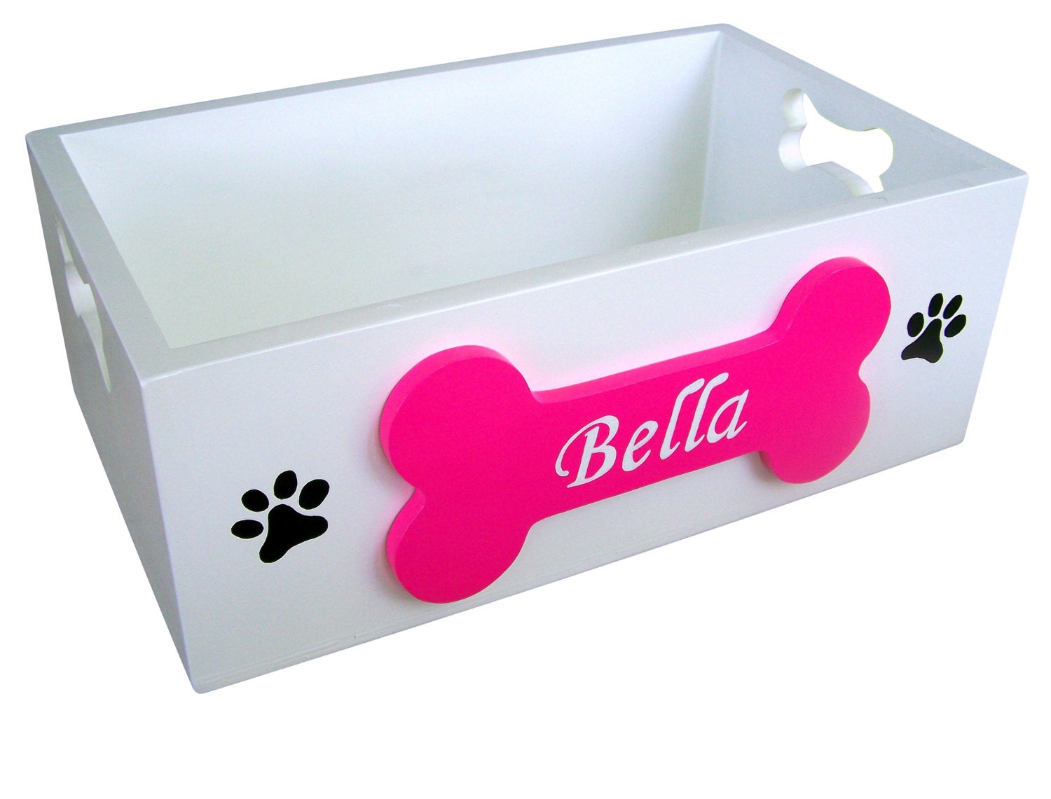 Painted Wooden Dog Toy Storage Box by SassyFrassStudio on Etsy