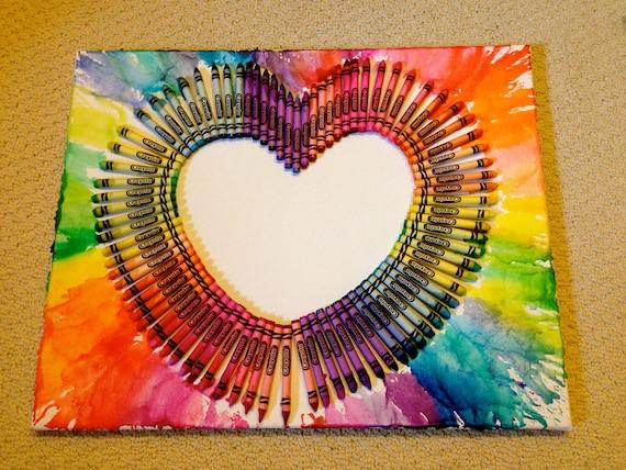 melted crayon art rainbow heart
