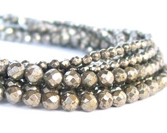 """15"""" Pyrite A grade 4mm / 6mm FACETED round beads gemstone 64 facets - full strand - PICK size"""