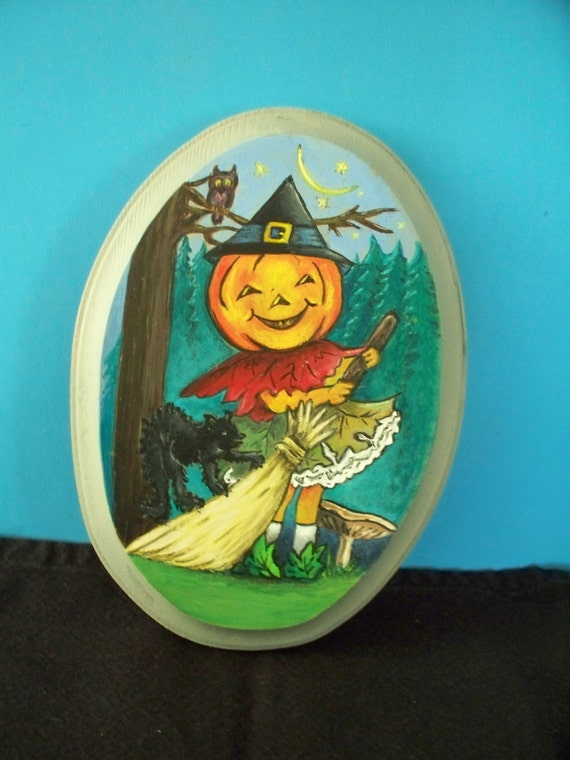 Oval Halloween Wooden Plaque Hand Painted Wood Burned Pumpkin-Head Girl Fall Scene