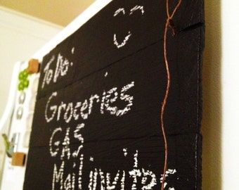 "Rustic Fridge Chalkboard: Awesome Fridge magnet chalkboard via recycled pallet wood. Coolest ""To Do"" list chalkboard ever. Chalk included"