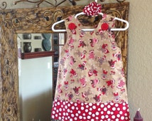 Sock Monkey Dress, Red and Tan (girls,baby, toddler, infant, child) Jumper or Sundress, with Matching Hair Accessory