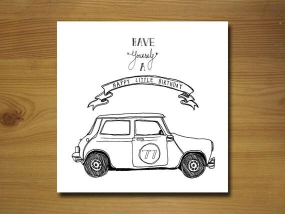 Articles similaires personnalis austin mini mayfair carte d 39 anniversaire sur etsy - Dessin voiture mariage ...