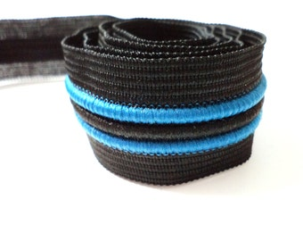 5 YARDS Black and Blue Stripes Gross Grain Trim Ribbon  1'' - for Crafts, Sewing , Accessories