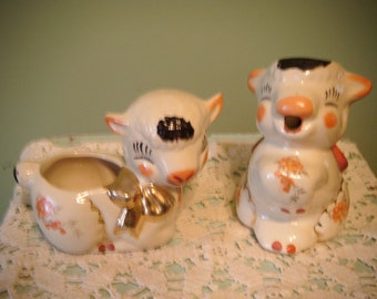 Adorable Set of Vintage Ceramic Lamb creamer and sugar bowl