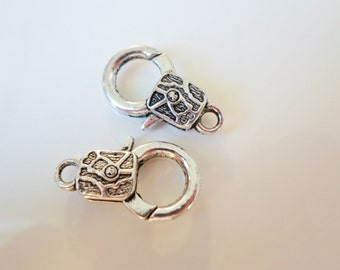 2 Large Antiqued Silver Lobster Claw Clasp with Abstract Design
