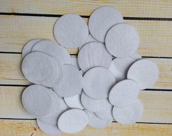 1.5 inch white adhesive felt circles