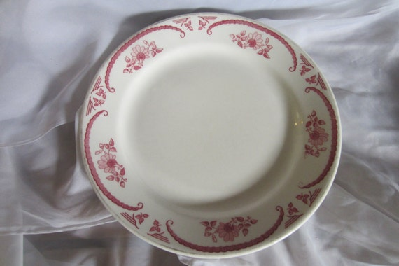 Two Homer Laughlin Best China Rose Pattern Plates Restaurant