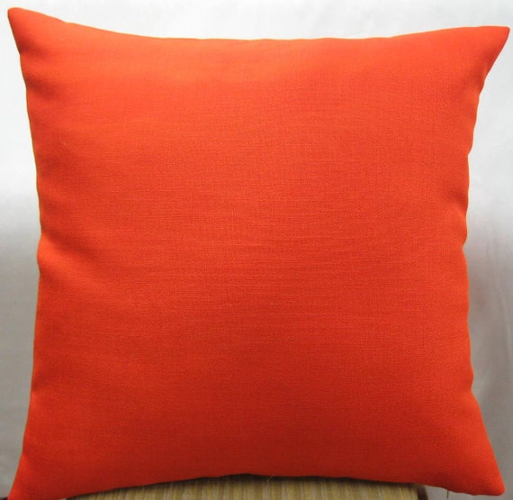 Dark orange pillow cover in 24 x 24 linen fabric by pillowusa