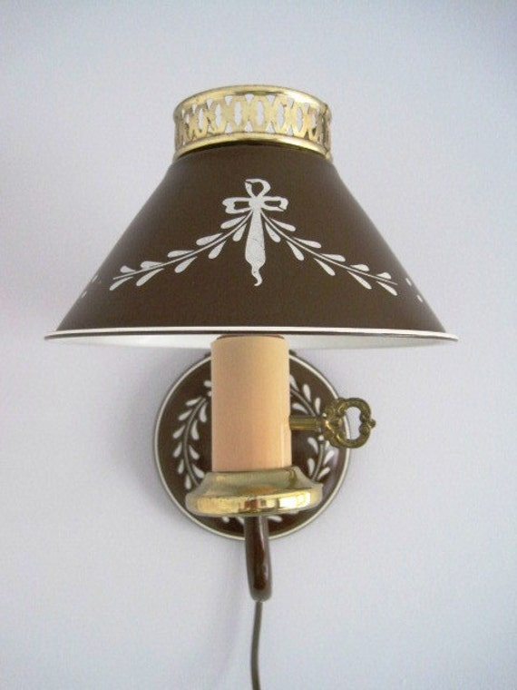 Vintage Brown Tole Wall Lamp Sconce Toleware Tole Ware Metal