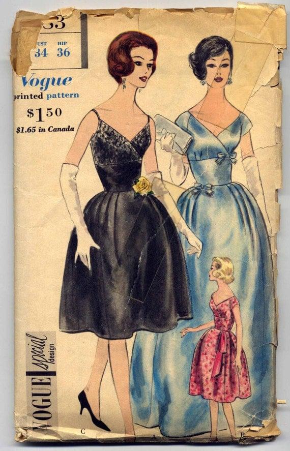 1960s Vogue 4183, Formal Gown - Deep V Neckline - Cap Sleeves or Shoe-String Shoulder Straps - Bust 34 - Vintage Sewing Pattern