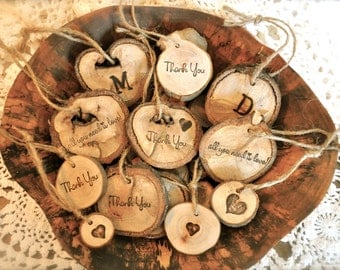 Personalized Wood Ornaments, Personalized Wood Gift Tags, Personalized Wood Wine Bottle Charms, Rustic Wood Ornaments