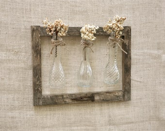 Vintage Vases and Reclaimed Wood Frame, Rustic Handmade Wood and Vase Wall Hanging