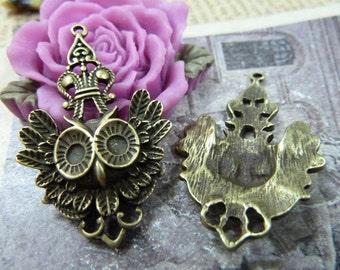 10pcs 24x38mm Antique Bronze Owl Charms Drops Pendants Connectors Pendants Jewelry Finding AC1237