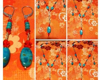 Turquoise and Hyacinth Crystal Necklace & Earrings