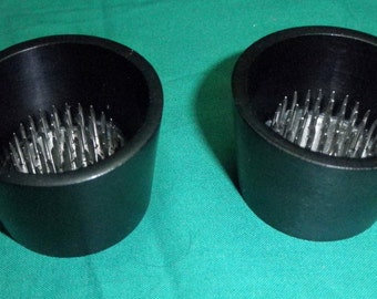2 Black Aluminum Water Holding Floral Pin Frogs or Kenzan for Japanese Ikebana Vases or Stands