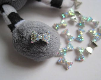 MD-74 5pcs Fancy Metal Charms Crystal AB Rhinestone Silver Bow Charms Nail Art Decoration Cellphone Decoration
