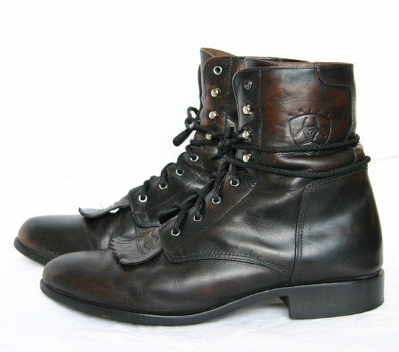 Shop Sale / Vintage Distessed Brown Leather ARIAT Lace Up