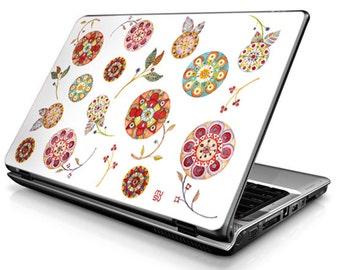 Flowers (white) - Laptop Decals - Laptop Skins - Laptop Stickers - Laptop Vinyl