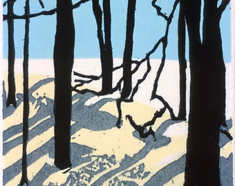 "Shadows  3"" x 4""  woodblock"