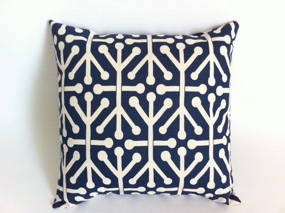 How To Make Throw Pillow With Zipper : Two Navy Blue Decorative Throw Zipper Pillow Covers by Pillomatic