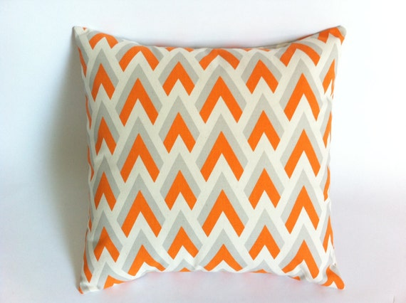 Decorative Pillow Covers With Zippers : Set of 2 Decorative Throw Zipper Pillow Covers Orange Chevron Print fit 18x18 Inch pillow ...