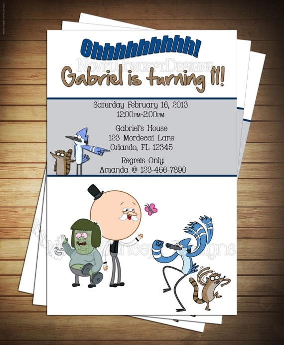 Novel concept designs regular show birthday invitation and thank regular show birthday invitation and thank you card stopboris Gallery