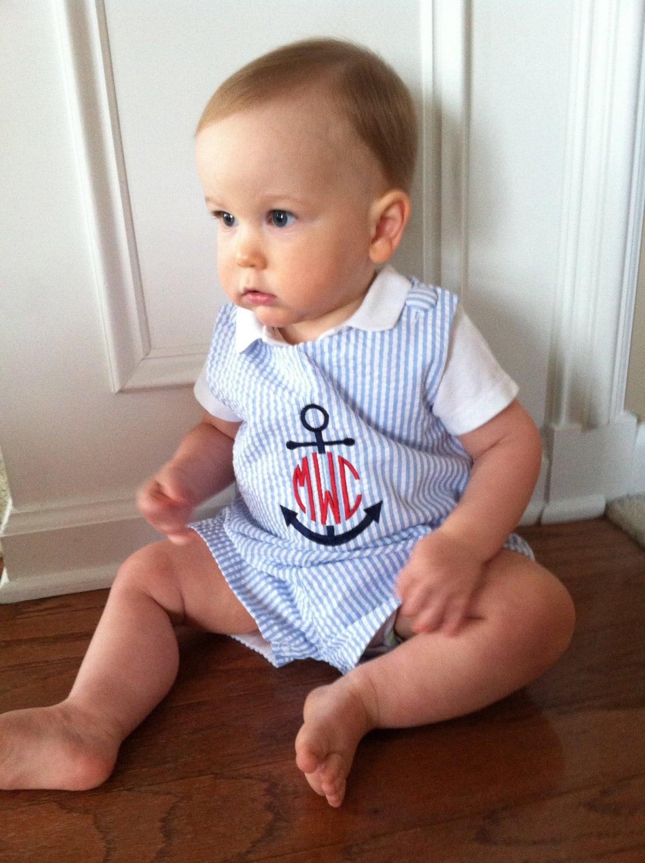 Blue Seersucker Stripe Baby Boys Jon Jon Shortall Anchor