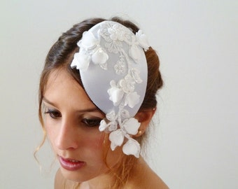 BRIDAL HAT ,Wedding Flower hat, Wedding Hat , floral wedding headpiece floral lace bridal hat , Wedding hat Fascinator,bridal lace headpiece