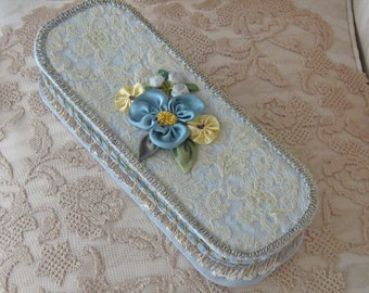 Vintage Glove Box Repurposed with Vintage Laces, Trims and Ribbonwork