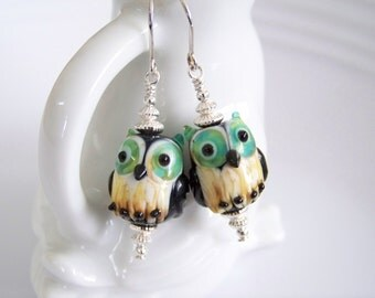 Owl Lampwork Earrings with Sterling Silver Accents  - Item E1674