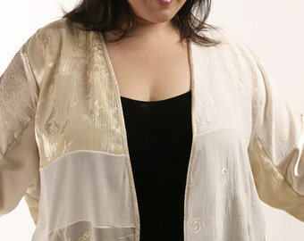 Plus Size Designer Wearable Art Jacket Ivory Gold White Silk