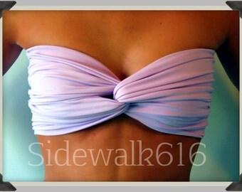 Lilac Bandeau Top Spandex Bandeau Bikini Swimsuit