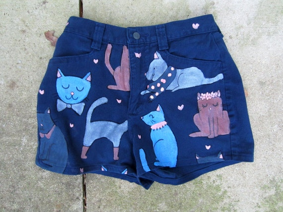 Hand Painted Navy Cat Shorts- Size 6