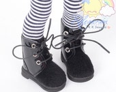 """Black Faux Pony Hair/Patent Leather Black Shoelaces Short Boots Doll Shoes Boots for YOSD Dollfie BJD and 12"""" Kish Bethany dolls"""