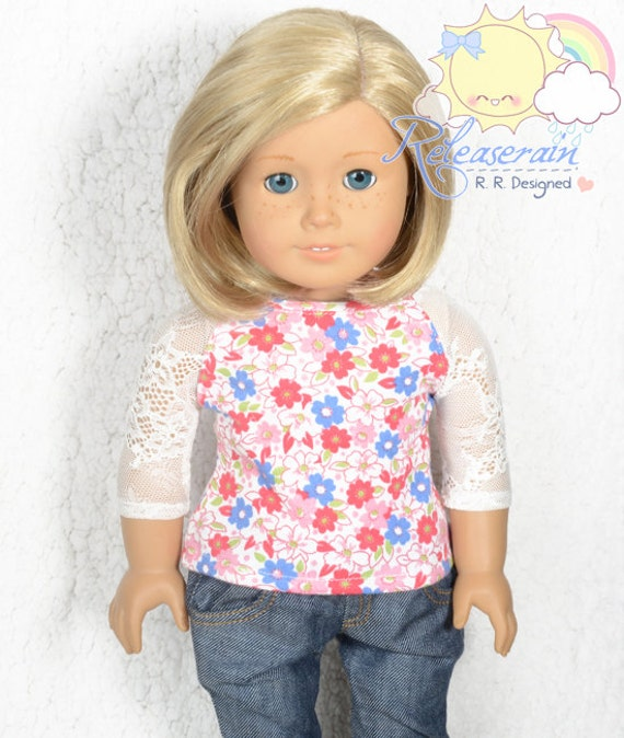 "Flowers/White Mesh Lace 3/4 Sleeve Knit Tee Shirt Doll Clothes Outfit for 18"" American Girl dolls"