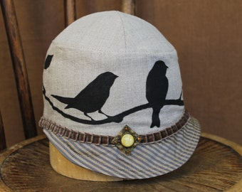 Cloche Summer Hat With  Birds | Hand Painted | Vintage Pin on Light Khaki Colored Linen