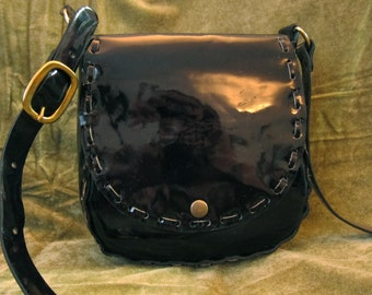 Vintage look real leather saddle/shoulder bag handmade patent leather black