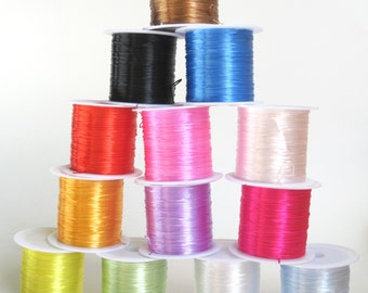 Dyed  Elastic Wire - 0.8 mm width - Jewelry supplies - 12 yards roll