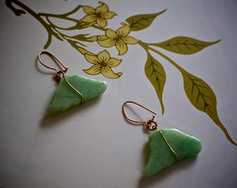 Exquisite Jade Earrings with Gold Wire