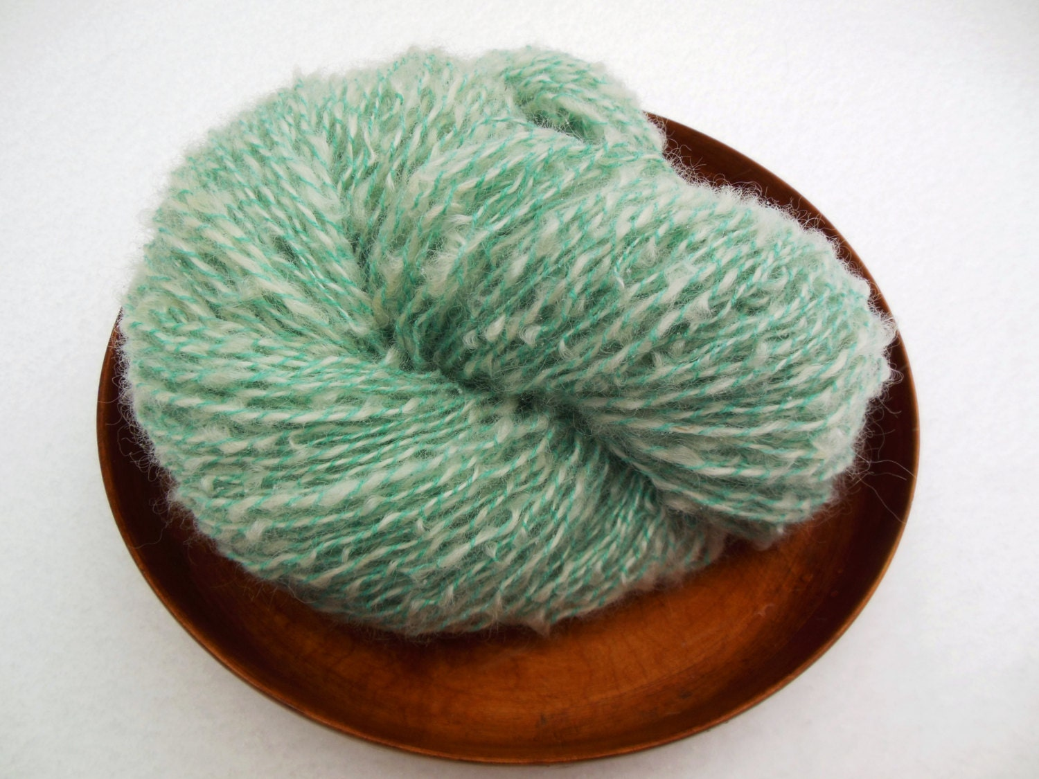 Boucle Yarn : White and Teal handspun boucle yarn by CarolsKnitnSpin on Etsy