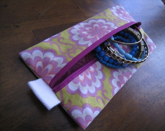 Zippered Pouch- Green, Purple, Mauve, and White Vintage Floral