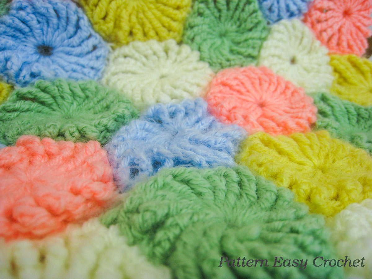 Crochet Yoyo Patterns : Baby blanket yo-yo puff crochet pattern instant download