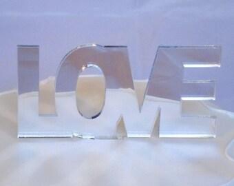 """LOVE Contemporary Cake Topper in Silver Mirror Acrylic - 10cm / 4"""""""