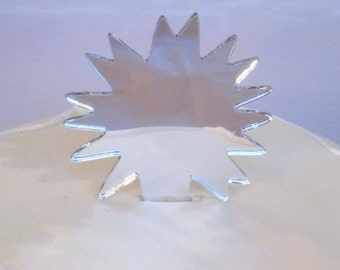 Pow Cake Toppers in Silver Mirror Acrylic - 10cm / 4""