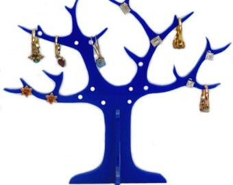 Blue Acrylic Ring Tree (for earrings and rings)