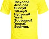 Girls' Generation - SNSD - Group Member Names K-pop T-Shirt